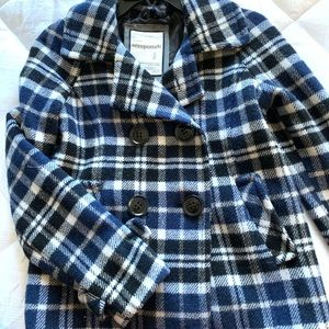 Blue and Black Checkered Button Up Jacket